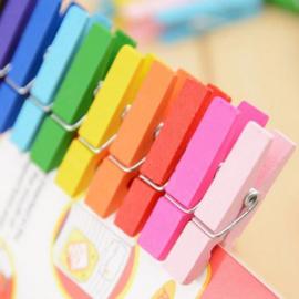25 stuks mini knijpers multicolor 3,5 cm