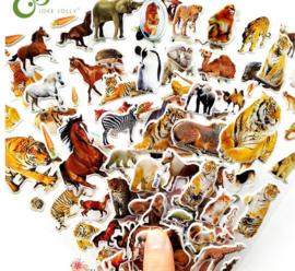 10 stickervellen tijgers - leeuwen - paarden - wilde dieren - dinosaurussen