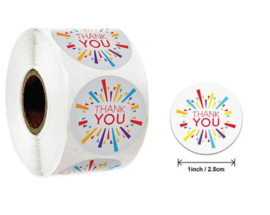500 stickers op rol Thank You multicolor 2,5 cm