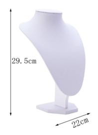 Sieraden display lederlook wit 29,5 cm hoog
