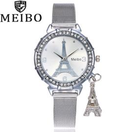 Zilverkleurige horloge Eiffeltoren _ Parijs