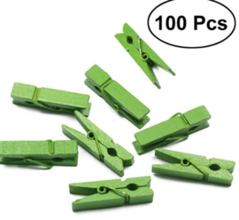 100 stuks houten mini krijpers groen 2,5 cm
