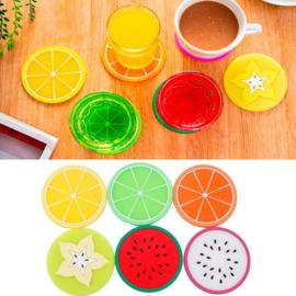 6 stuks siliconen onderzetters fruit