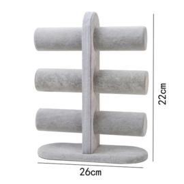 Armbanden display grijs fluweel 3 rollen
