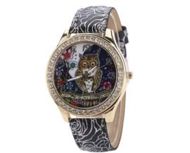 Vintage horloge uil met strass