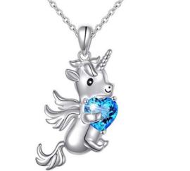 Zilverkleurige ketting Unicorn met blauw hartje