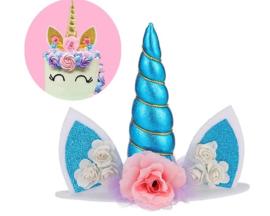 Unicorn / eenhoorn taart topper - cake topper blauw