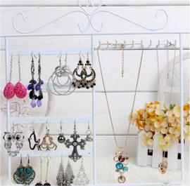 Metalen sieraden display wit voor oorbellen en kettingen 32x30 cm