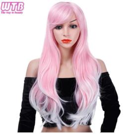 Pruik Lang golvend haar roze wit met haarnetje