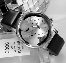 Horloge Mickey Mouse zilverkleurige wijzerplaat - zwarte horlogeband