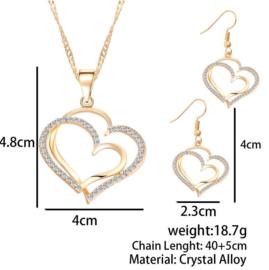 sieraden setje ketting + oorbellen hart met strass
