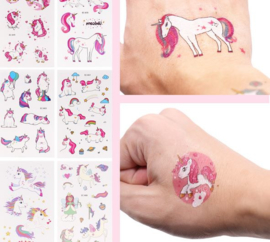 3 velletjes tattoo stickers Unicorn - eenhoorn