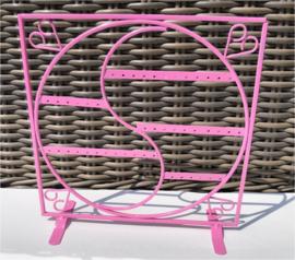 Metalen oorbellen display roze 27x27 cm