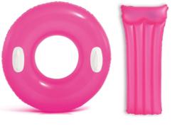 Zwemband met handgrepen 76 cm + luchtbed 83 x 76 cm neon roze