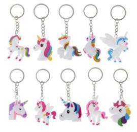 12 stuks sleutelhangers unicorn - eenhoorn