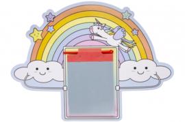 6 stuks tekenbord met pen Unicorn - eenhoorn regenboog / uitdeel cadeautjes 24x19 cm