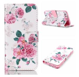 Telefoonhoesje / Magnetisch flip wallet rozen Iphone 5 - 5S - SE