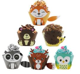 12 stuks cupcake omslagen dieren