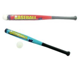 2 stuks kunststof honkbalknuppel met ballen 71 cm rood en blauw