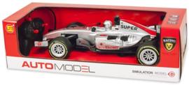 RC Race auto 1:12 Zilver 13x45cm bestuurbare auto met licht en geluid