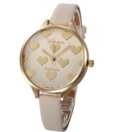 Dames horloge creme met goudkleurige hartjes