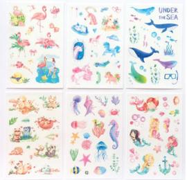 6 velletjes stickers unicorn flamingo dieren schelpen walvissen zeemeermin
