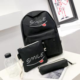 Rugzak - tasje - etui / 3-delig SMILE