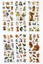 6 stickervelletjes honden en katten