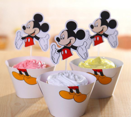 12 stuks cupcake omslagen + 12 toppers Mickey Mouse
