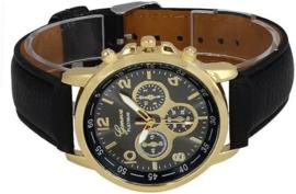 Quartz Analoog horloge zwart