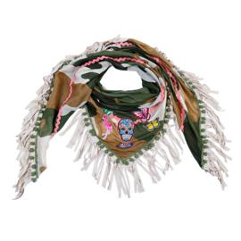 Sjaal skull met print, patches en franjes