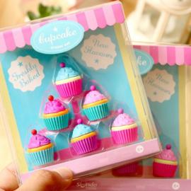 6 stuks kleurrijke cupcake gummen