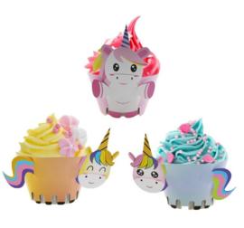 12 stuks cupcake omslagen Unicorn / eenhoorn