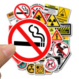 50 stuks waarschuwing stickers 4 tot 8 cm