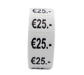 500 stuks prijsstickers 25 euro op rol wit