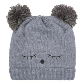 Warme winter muts donker grijs Teddy met oortjes