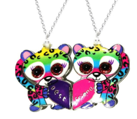 2-delige ketting Best Friends dieren met glitteroogjes met magneet