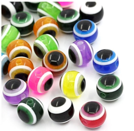 100 stuks kralen turkse ogen 8mm multicolor