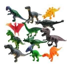 12 stuks mini dinosaurussen 6-7 cm