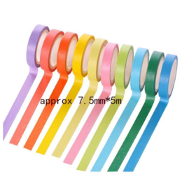 10 rolletjes papieren tape multicolor - per rol 5 meter x 7,5mm