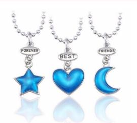 3-delige vriendschapsketting Forever Best Friends blauwe hangertjes