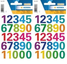 50 stuks glitter stickers cijfers