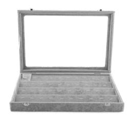 Ketting - hanger display koffer fluweel grijs met deksel