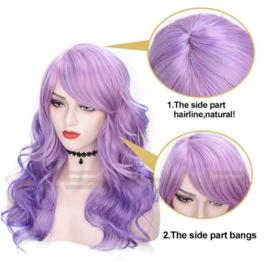 Pruik Synthetic Purple lang haar golvend