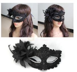 Masker zwart glitter - kant - bloem - veren