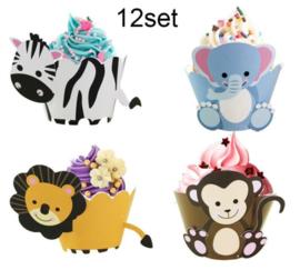 12 stuks jungle - dieren cupcake omslagen
