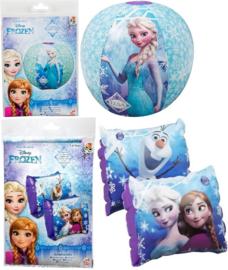 Frozen opblaasbare strandbal + Frozen zwembandjes