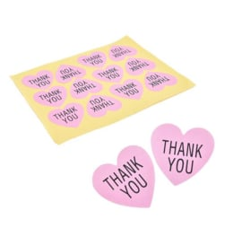 4 stuks stickervellen hart Thank you 3.8cm = 48 stickers