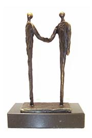 """Sculptuur verbronsd """"de afspraak """"inclusief persoonlijk kaartje"""