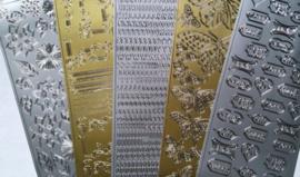 Peel off stickers, 5 verschillende vellen per verpakking Goud en Zilver